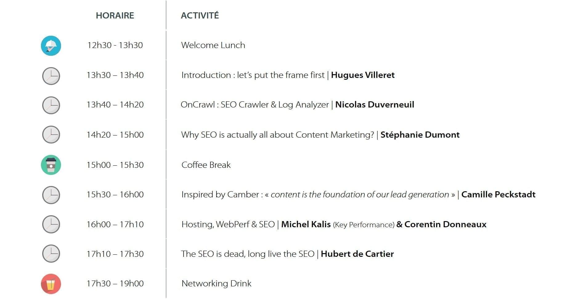 SEO Net Gen : agenda de la journée du 26.03