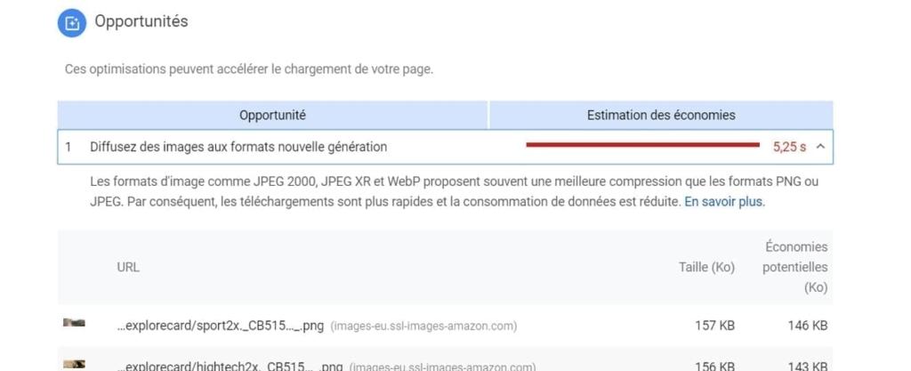 Les opportunités d'optimisation proposées par le PageSpeed Insights
